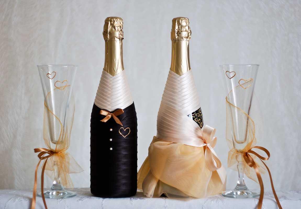 Бутылка и бокалы на свадьбу своими руками фото фото 9