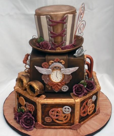 """tort-v-stile-stimpank Свадьба в стиле """"Стимпанк"""": роботы, шестеренки, гайки и болты в декоре"""