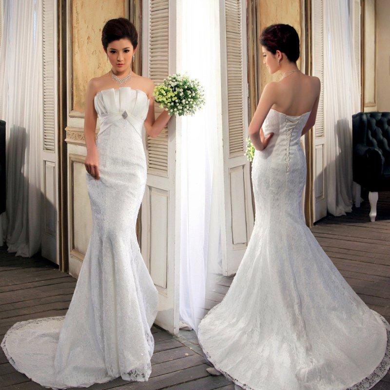 2013-tube-top-lace-slim-waist-and-fish-tail-short-trailing-summer-sexy-pianbu-wedding-dress Платье для летней свадьбы