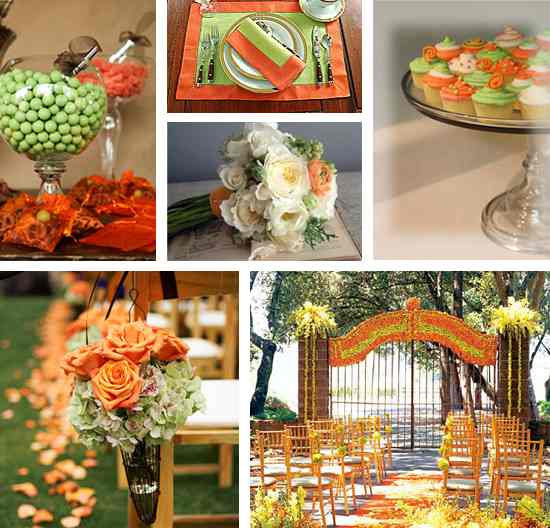 Яркая свадьба в зелено-оранжевой гамме