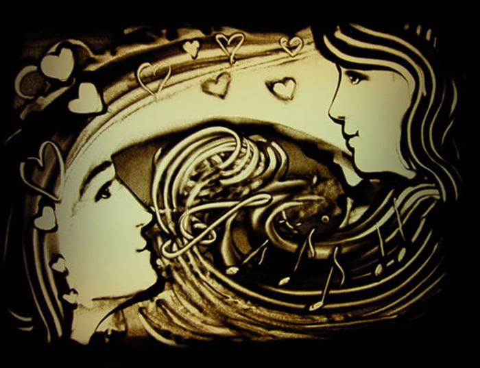 risovanie-peskom-na-svadbe-5 Рисование песком на свадьбе поможет разнообразить любое торжество