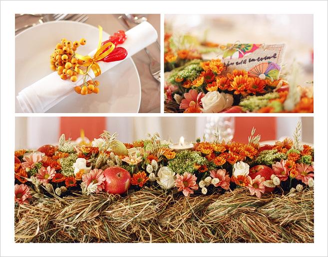 Осенние украшения свадебного стола