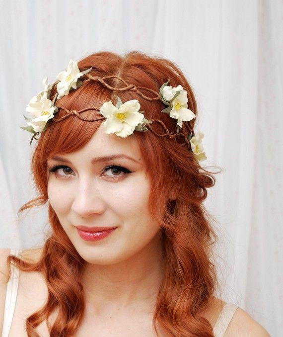 venok4 Свадебный веночек из искусственных цветов