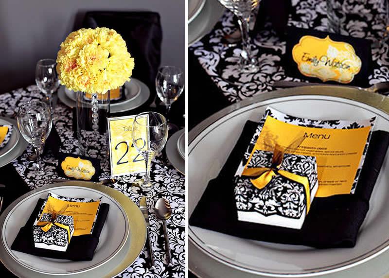 Decoraci-n-de-Bodas-de-color-Amarillo-Negro-y-Damasco-4 Декор свадьбы в стиле восточного узора