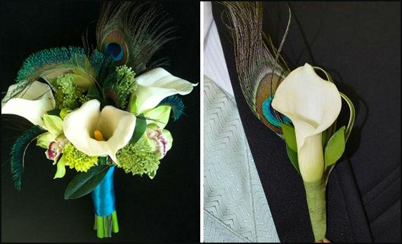"""butonerka-s-pavlinim-perom-1 Свадьба в стиле """"павлиньи краски"""": аккуратно украшаем павлиньими перьями"""