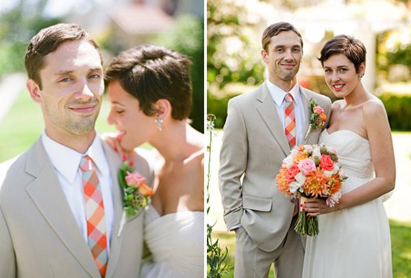 orange-plaid-wedding-tie Как правильно выбрать галстук жениху: цвет, узоры и длина галстука