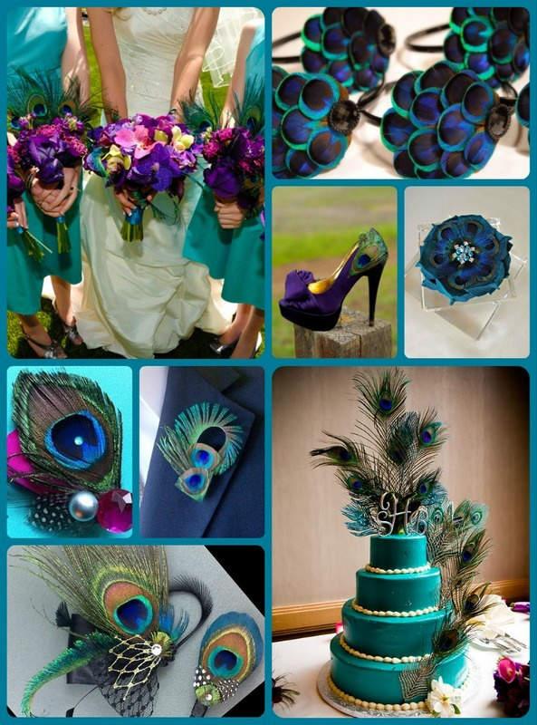 """Свадьба в стиле """"павлиньи краски"""": аккуратно украшаем павлиньими перьями"""