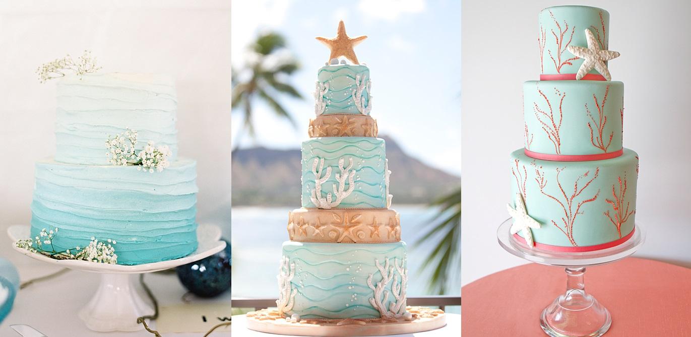 Торты для свадьбы на пляже