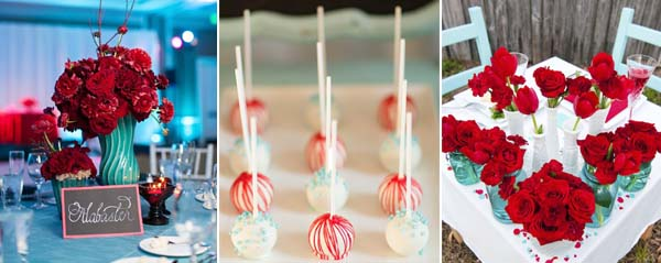 biruzovij-krasnij-cvet-svadbi Нестандартные цветовые решения для оформления летней свадьбы