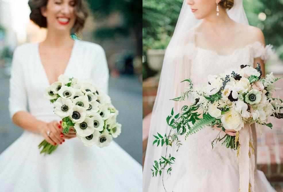 Анемоны в свадебном букете