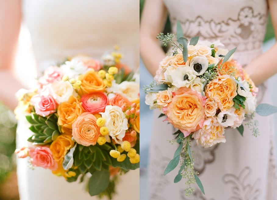 Свадебные букеты в персиковом цвете