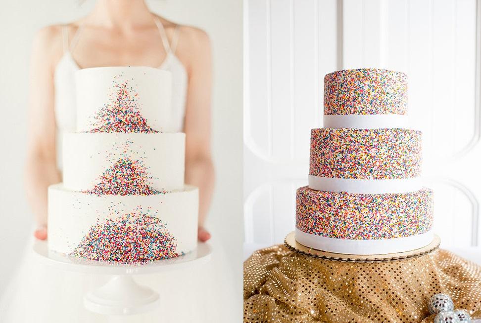 Свадебные торты с конфетти
