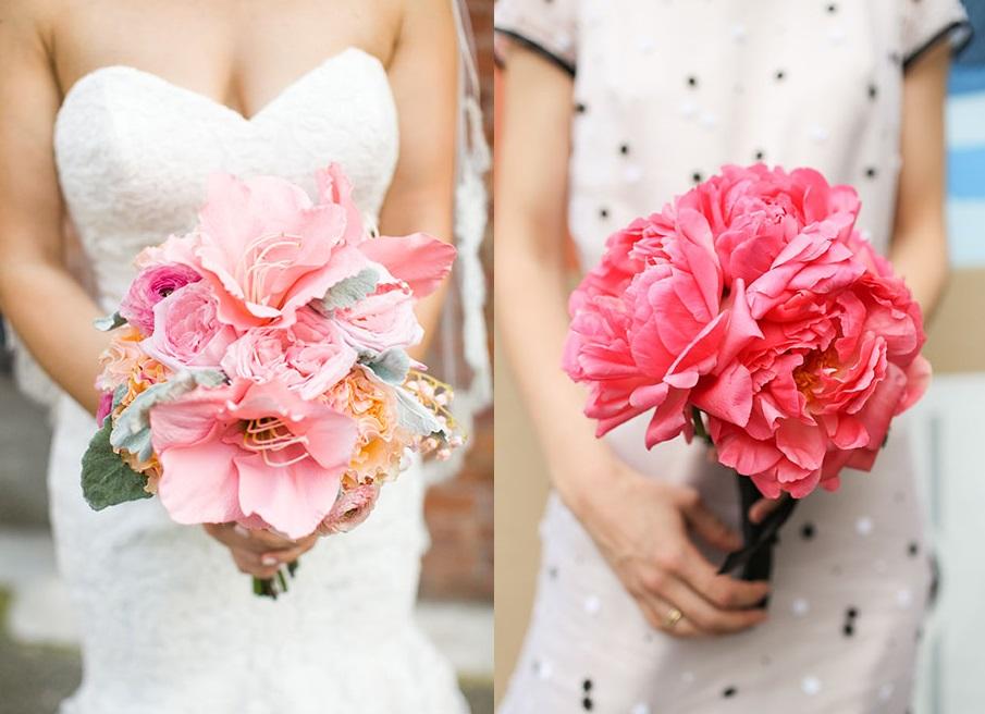 Великолепные розовые свадебные букеты