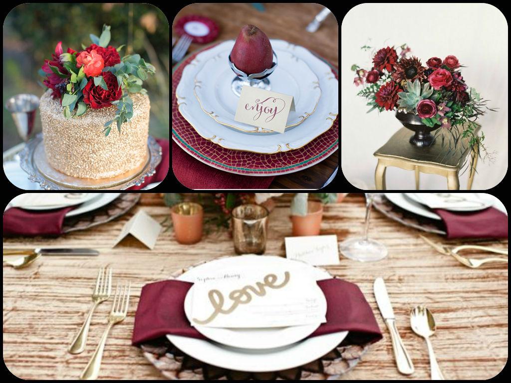 dekor-stola-v-tsvete-masala Модная и стильная свадьба в цвете марсала, как организовать