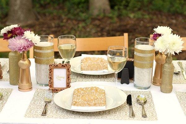 Золотые элементы в декоре свадьбы