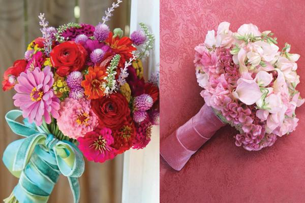 Velvet-Wrapped-Bouquets3 Бархат в зимних свадьбах