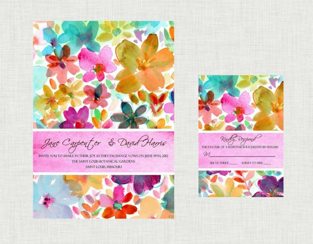Свадебные приглашения в акварельном стиле – идеальный вариант для свадьбы летом