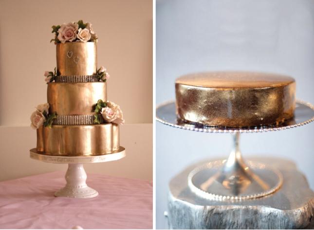 Свадебные торты с эффектом металлик