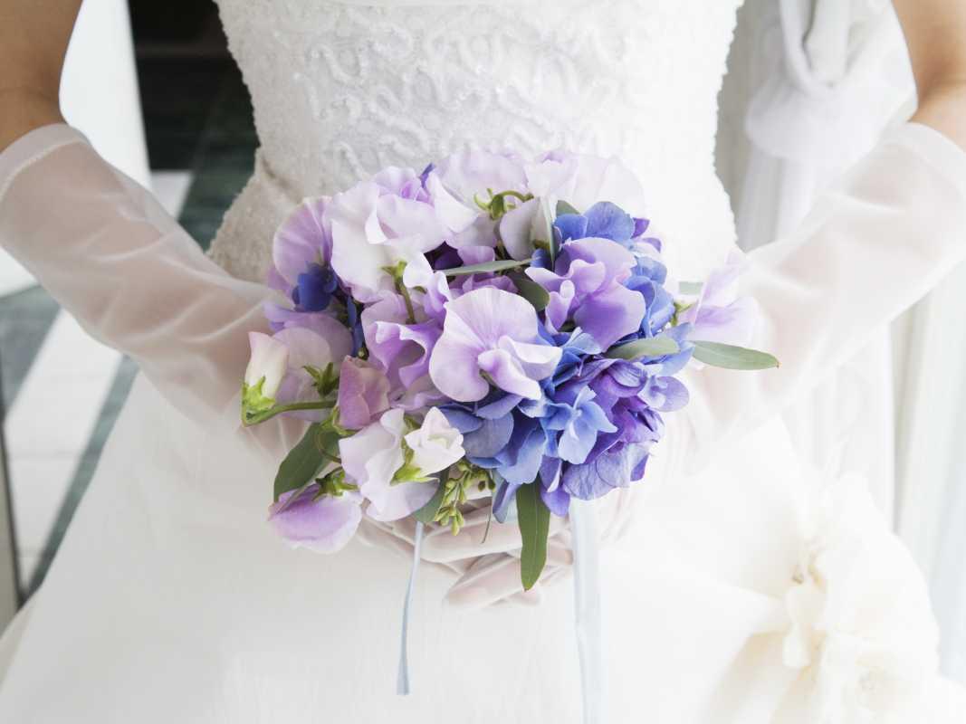 Свадебные букеты с душистым горошком