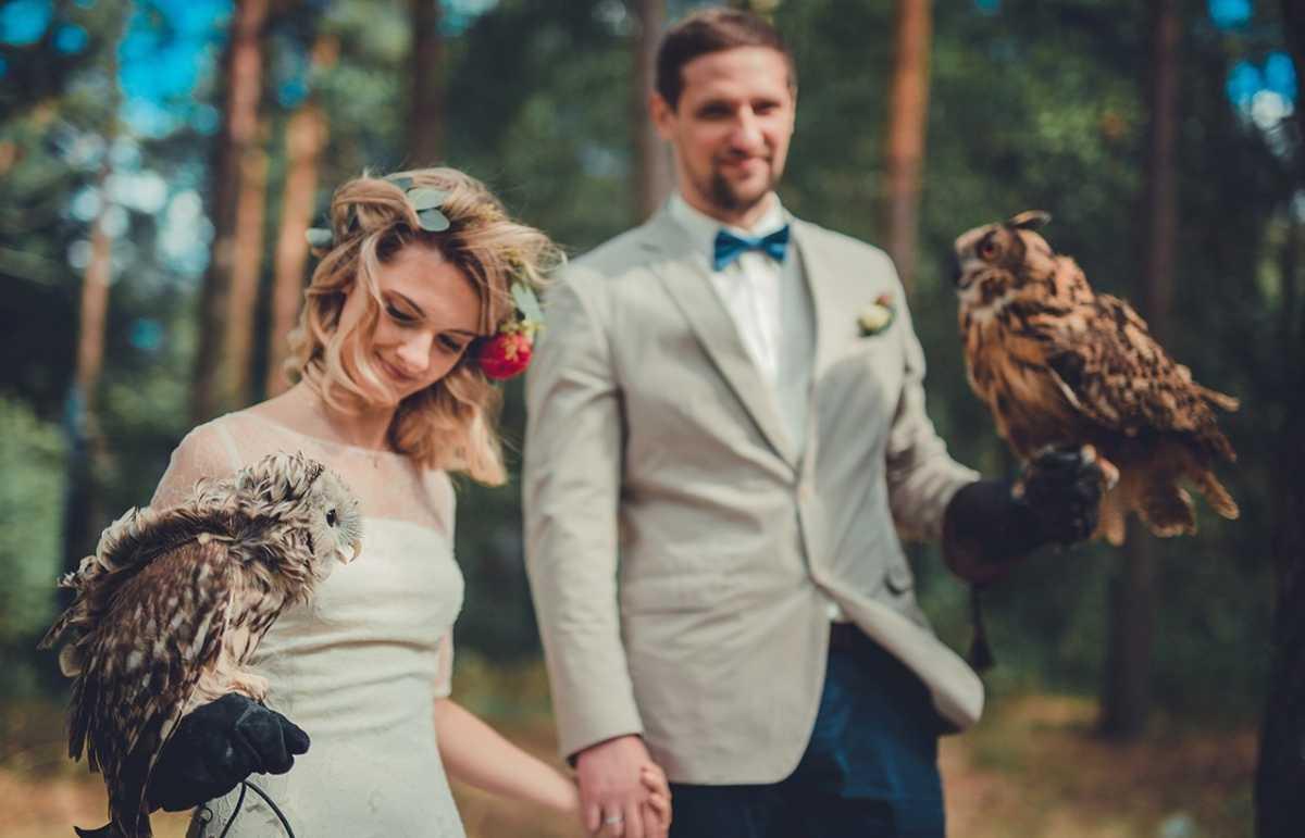 fotosessiya-i-sovy Удивительная свадебная фотосессия с живыми совами