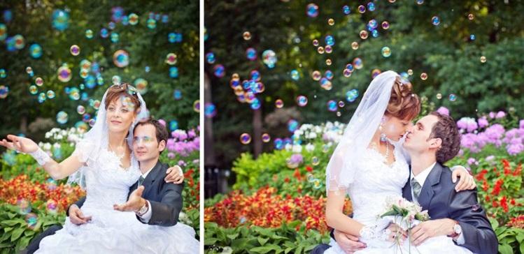 mylnye-puzyri-na-svadebnyh-foto-1 Воздушная свадебная фотосессия с мыльными пузырями