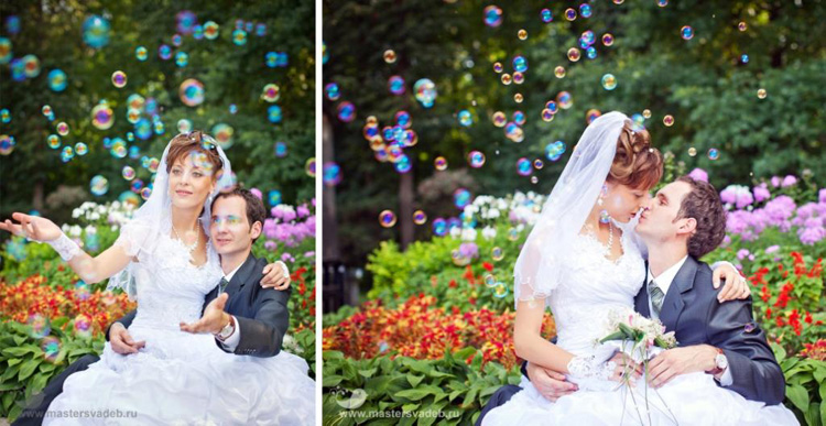mylnye-puzyri-na-svadebnyh-foto Какие мелочи пригодятся для развлечения гостей на свадьбе