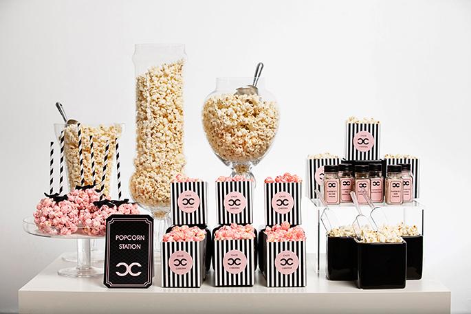 popokorn-bar-v-stile-shanel Попкорн бар - один из вариантов свадебного десертного стола