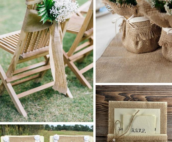 Варианты использования мешковины на свадьбе