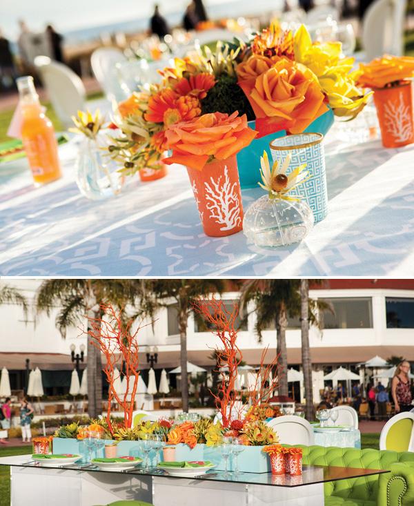 Удивительная пляжная свадьба на берегу моря в ярком оранжевом и сочном зеленом цвете