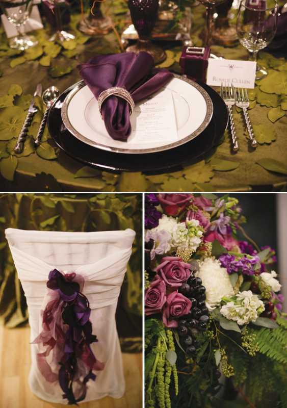 Яркая сервировка свадебного стола в сливовом цвете в сочетании с зеленым оформлением
