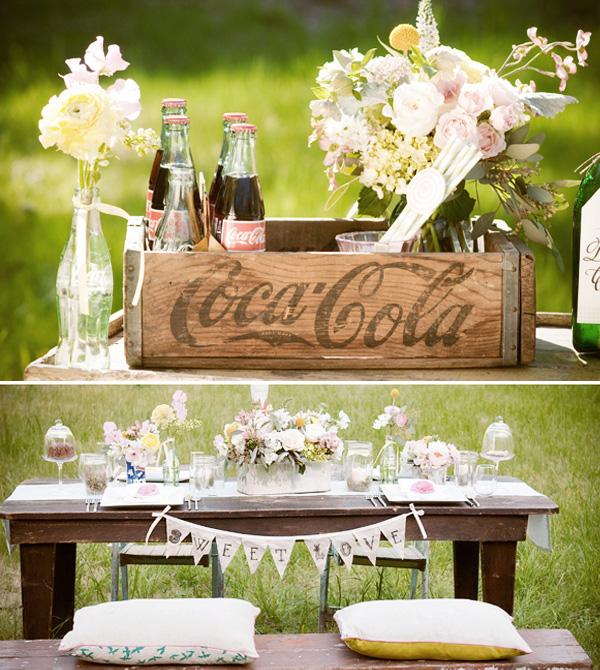 1-vintazhnaya-svadba-v-stile-kola Винтажная свадьба в оформлении которой ведущую роль занимают бутылочки Кока-Колы