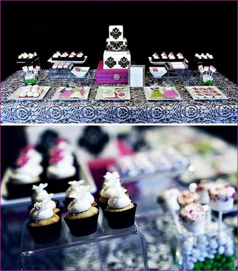 Яркий свадебных Кэнди бар в необычном сочетании фиолетового, розового и зеленого цвета