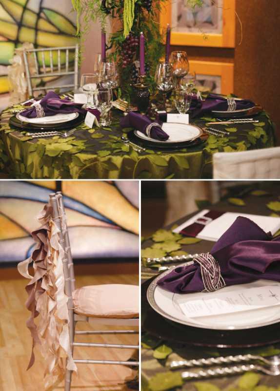 servirovka-svadebngo-stola-v-slivovom-tsvete-5 Яркая сервировка свадебного стола в сливовом цвете в сочетании с зеленым оформлением