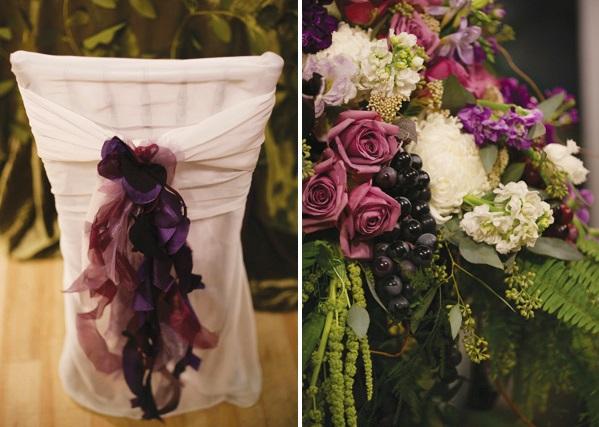 servirovka-svadebngo-stola-v-slivovom-tsvete-7 Яркая сервировка свадебного стола в сливовом цвете в сочетании с зеленым оформлением