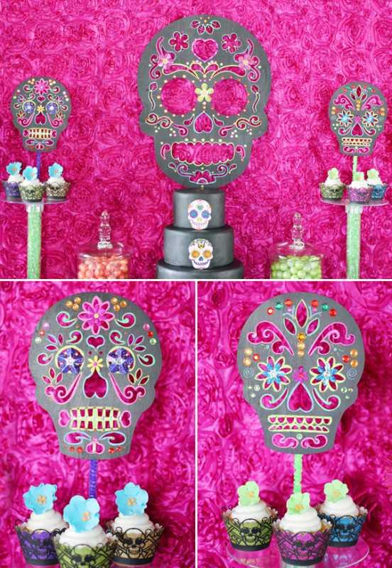 dekor-dlya-svadby-v-stile-dnya-mertvyh-8 Делаем сами яркий и жуткий декор для свадьбы в стиле Дня Мертвых