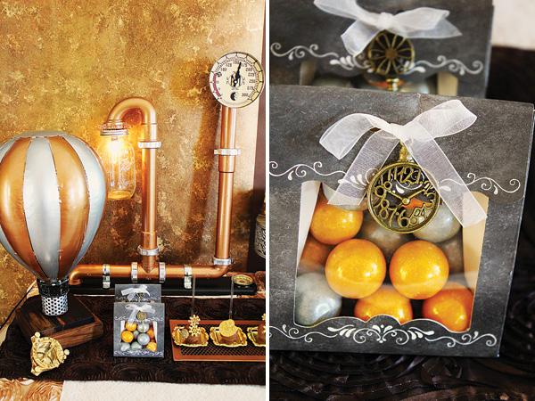 kendi-bar-na-svadbe-stimpank-8 Буйство шестеренок, механизмов и металлов в удивительном свадебном Кэнди Баре в стиле Стимпанк