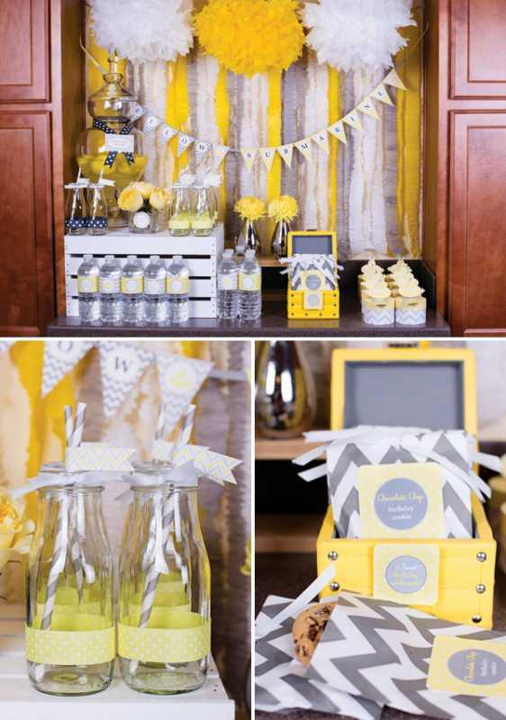 sero-limonnyj-kendi-bar-4 Серо-желтый Кенди Бар для украшения осенней свадьбы