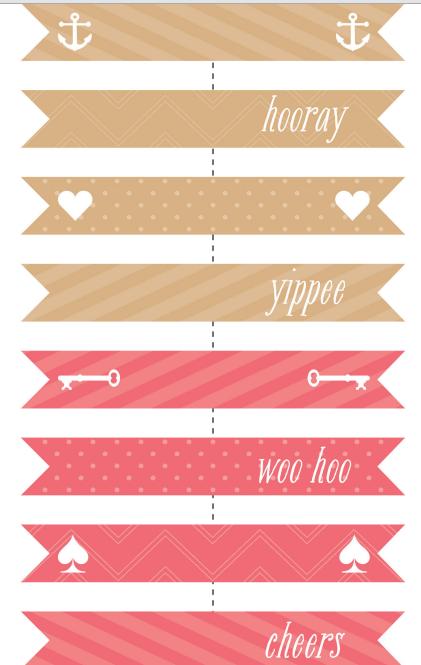 koralovye-flazhki Бесплатные шаблоны для распечатки свадебных флажков