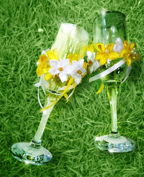 bokaly-dlya-svadby-v-romashkovom-stile Ромашковая свадьба - один из вариантов оформления свадьбы в цветочно-ромашковом стиле